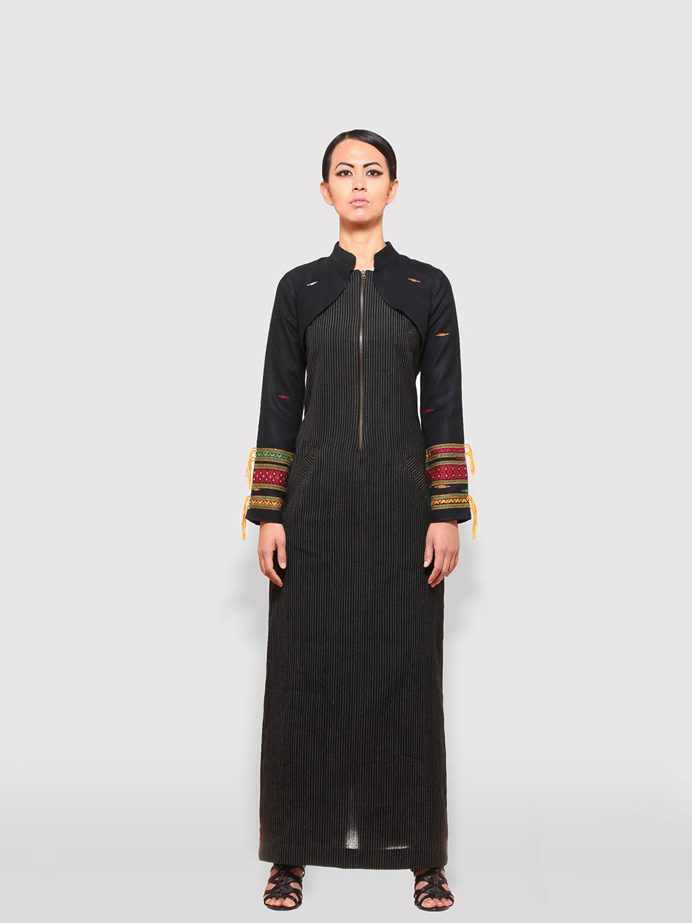 Handwoven traditional motif Long sleeves shrugs with Extra Weft designed by Khumanthem Atelier