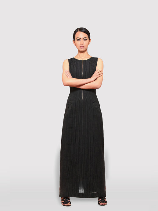 Maxi Dress with cut-out back & metal zipper opening