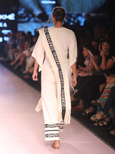 Diamond weave jumpsuit with traditional Sha-Nga embroidery & matching sash