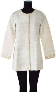Creme A-shaped coat with braided collar, centre front and sleeves