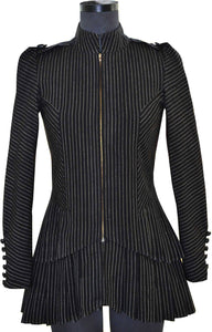 Front view of hanger shoot of Black and gold stripe tiered jacket designed by Khumanthem Atelier