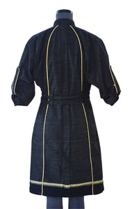 Overcoat with pleated front, yellow embroidery details & double belt