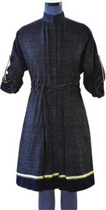 Front view of hanger shoot of Double Belt Pleated overcoat with black and golden stripes designed by Khumanthem Atelier