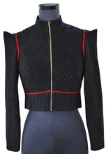 Load image into Gallery viewer, Front view Cropped Pinstripe Jacket, handwoven