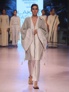 Ramp walk front view of model wearing Handwoven Kimono Sleeve Coat, made from cotton, designed by Khumanthem Atelier, during Lakme Fashion Week, 2018