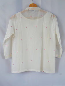 Back View of Hanger Shoot Handwoven Dainty Pink dots cotton blouse