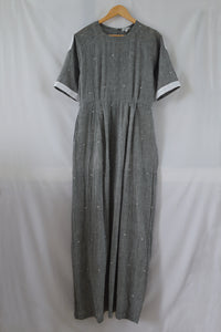 Drawstring Cotton Maxi Dress with Pockets