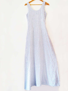 Hanger shoot of Handwoven white Checked flared maxi dress, designed by Khumanthem Atelier