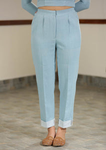 Handwoven cotton Mid waist turn-up hem trousers, designed by Khumanthem Atelier
