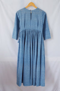 Gathered waist cotton dress