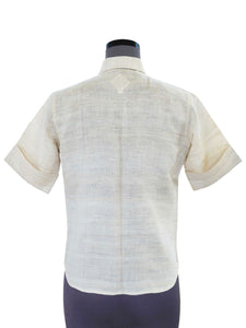 Back view of Handwoven Silk shirt with contrast tab collar designed by Khumanthem Atelier