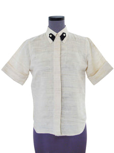 Front view of Handwoven Silk shirt with contrast tab collar designed by Khumanthem Atelier