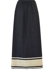 Back view of Front view of Handwoven Pinstripe wrap-around skirt inspired by traditional Meitei attire designed by Khumanthem Atelier