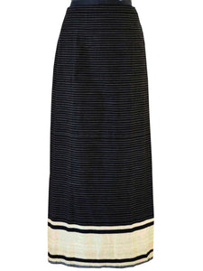 Front view of Handwoven Pinstripe wrap-around skirt inspired by traditional Meitei attire designed by Khumanthem Atelier
