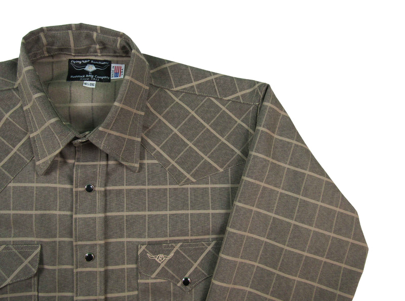 Flying R Ranchwear - The Lincoln Shadow Plaid - Dark Olive - Long Sleeve - Snaps
