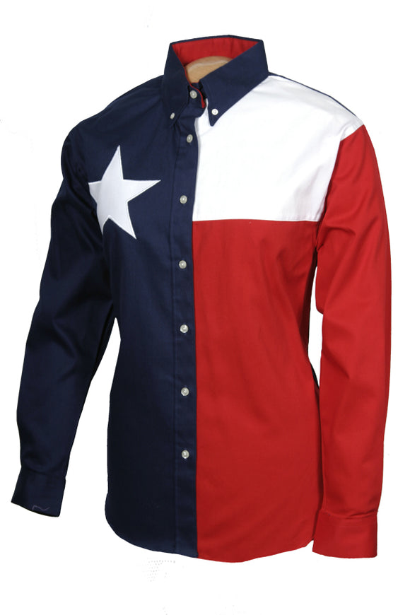 Texas Cotton Ladies Long Sleeve Lone Star Flag Shirt