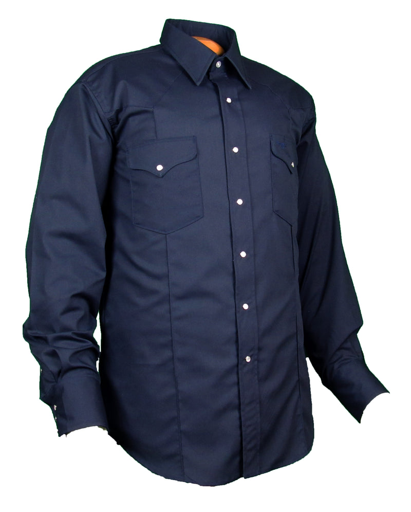 Rancher Crease - Navy Blue - Long Sleeve - Snaps