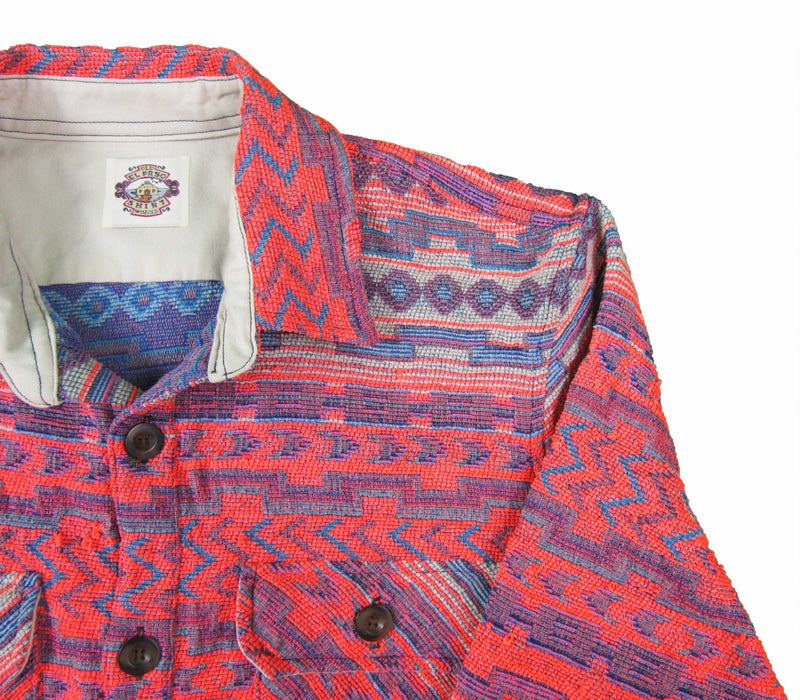 Shirt Jacket in Bright Southwestern woven jacquard - Buttons