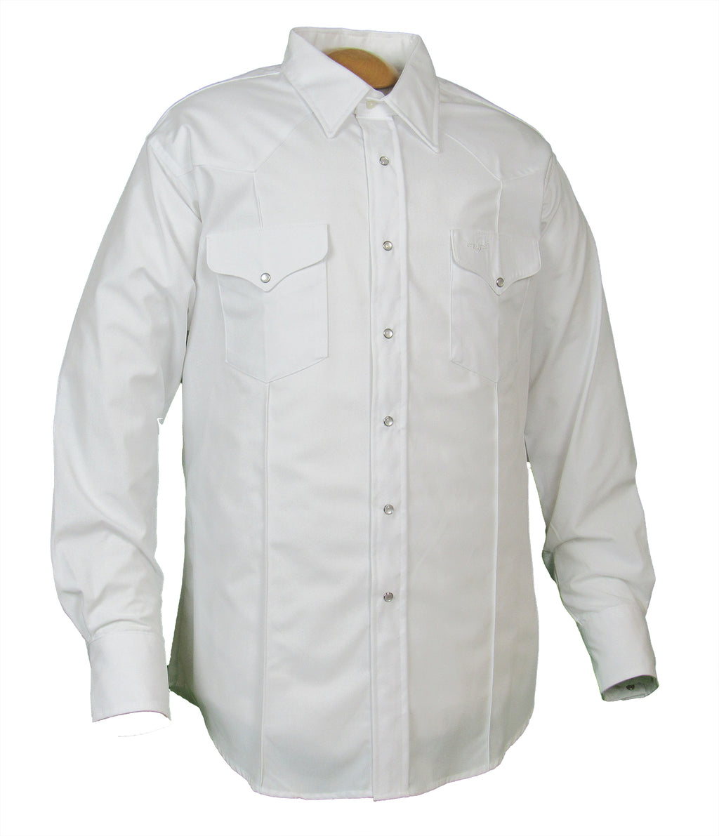 Rancher Crease - White - Long Sleeve - Snaps