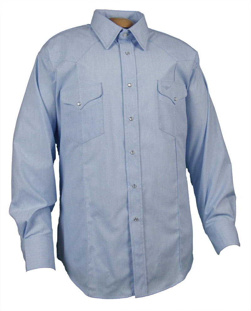 Rancher Crease - Lt. Blue - Long Sleeve - Snaps