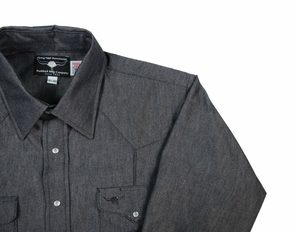 Rancher Crease - Charcoal - Long Sleeve - Snaps