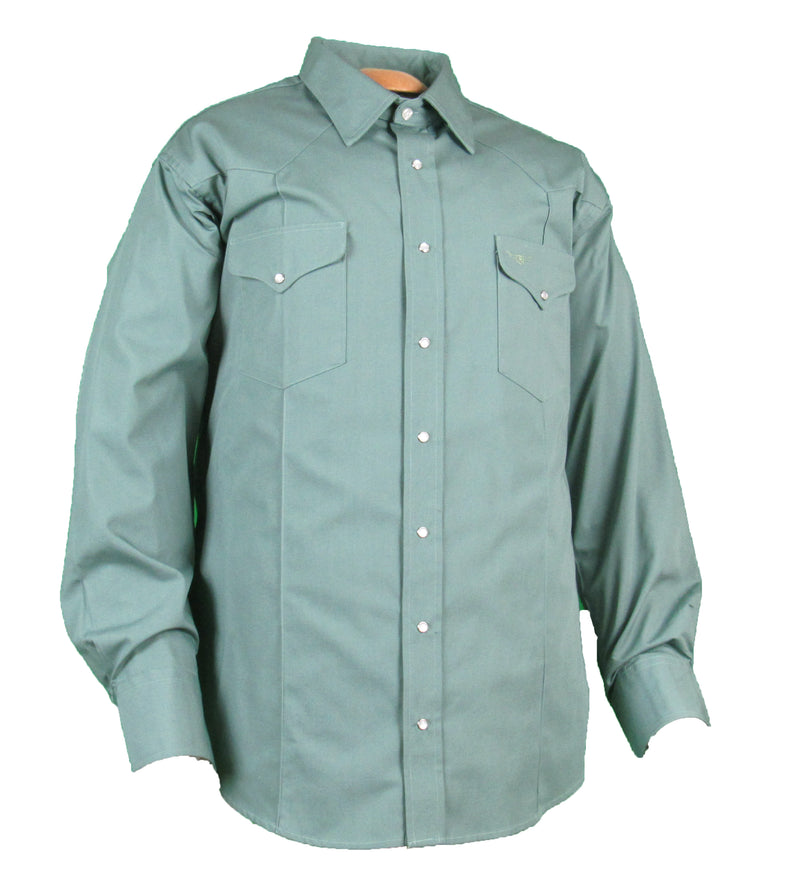 Rancher Crease - Sage Green - Long Sleeve - Snaps