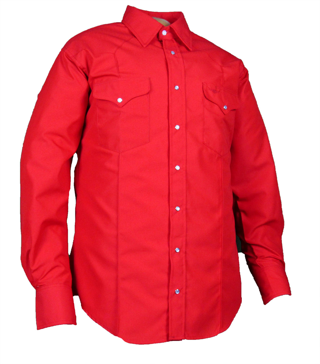 Rancher Crease - Red - Long Sleeve - Snaps
