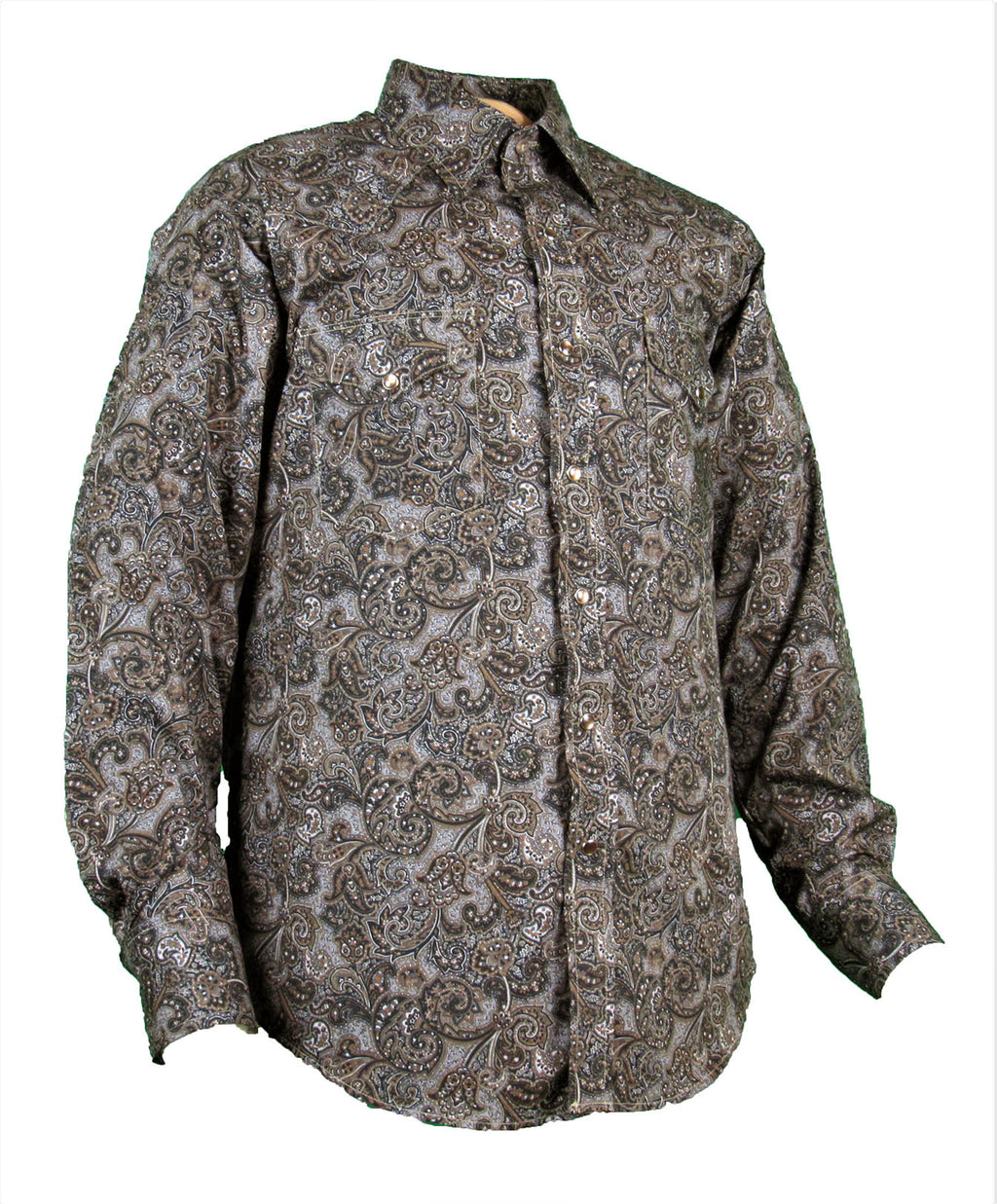 Prints - Black Paisley - Snaps - Long Sleeve