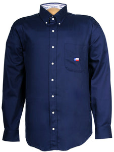 Texas Cotton - Men's Lone Star Embroidery on Pocket - Navy - Long Sleeve - Buttons
