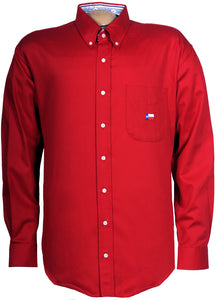 Texas Cotton Men's Long Sleeve with Lone Star Embroidery on Pocket - Red