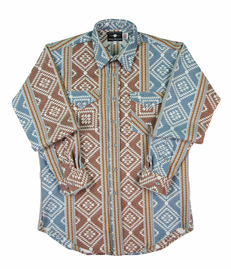 Flying R Ranchwear - Flannel Overshirt - Denim Blue Southwest Print - Buttons