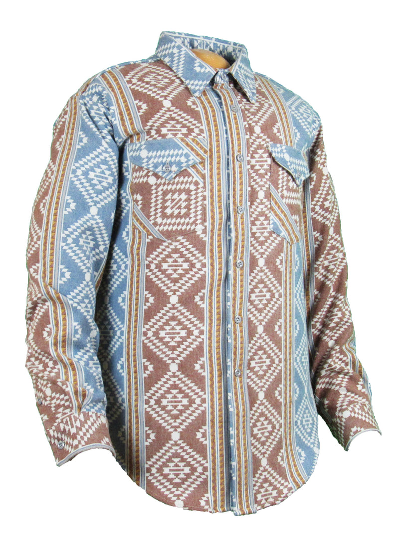 Flying R Ranchwear - Flannel - Navy Aqua Stripe - Snaps