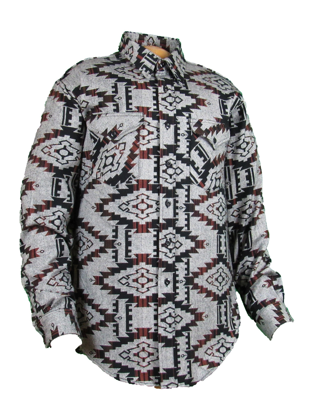 Flying R Ranchwear - Flannel Overshirt - Brown Southwest Print - Buttons