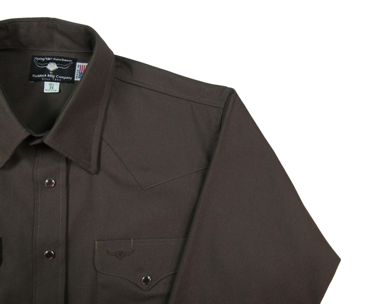 Flying R Ranchwear - Solid Oxford - Chocolate Brown - Snaps