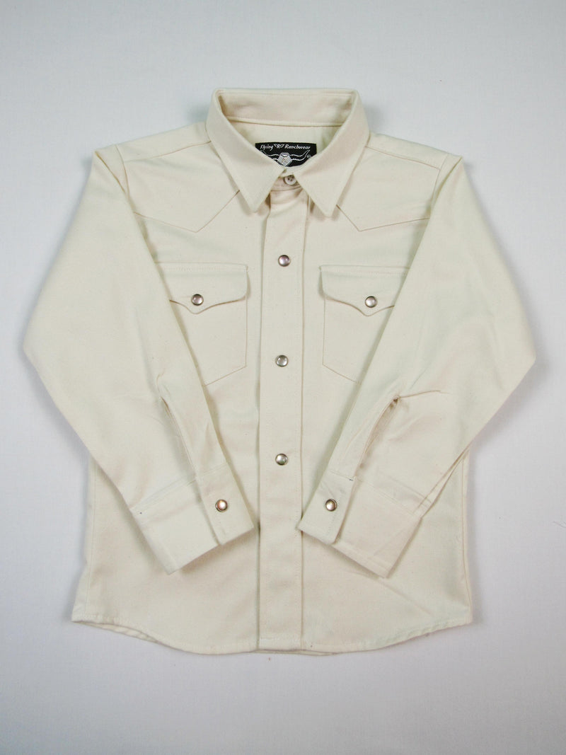 Boys Western Shirt - Ivory Twill Solid - Long Sleeve - Snaps - FINAL MARKDOWN - $12.95