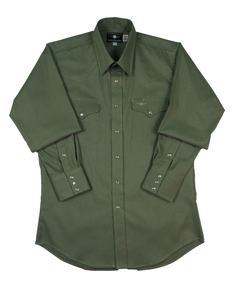 Flying R Ranchwear - Solid Oxford - Safari Green - Snaps