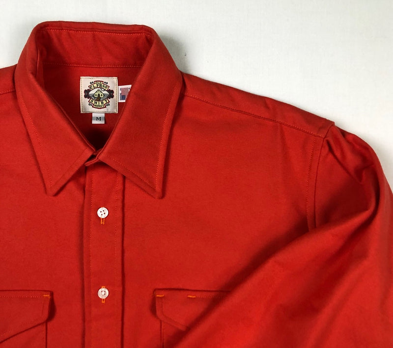 Shirt Jacket in Red Chamois Solid - Snaps - Final Markdown - $24.95