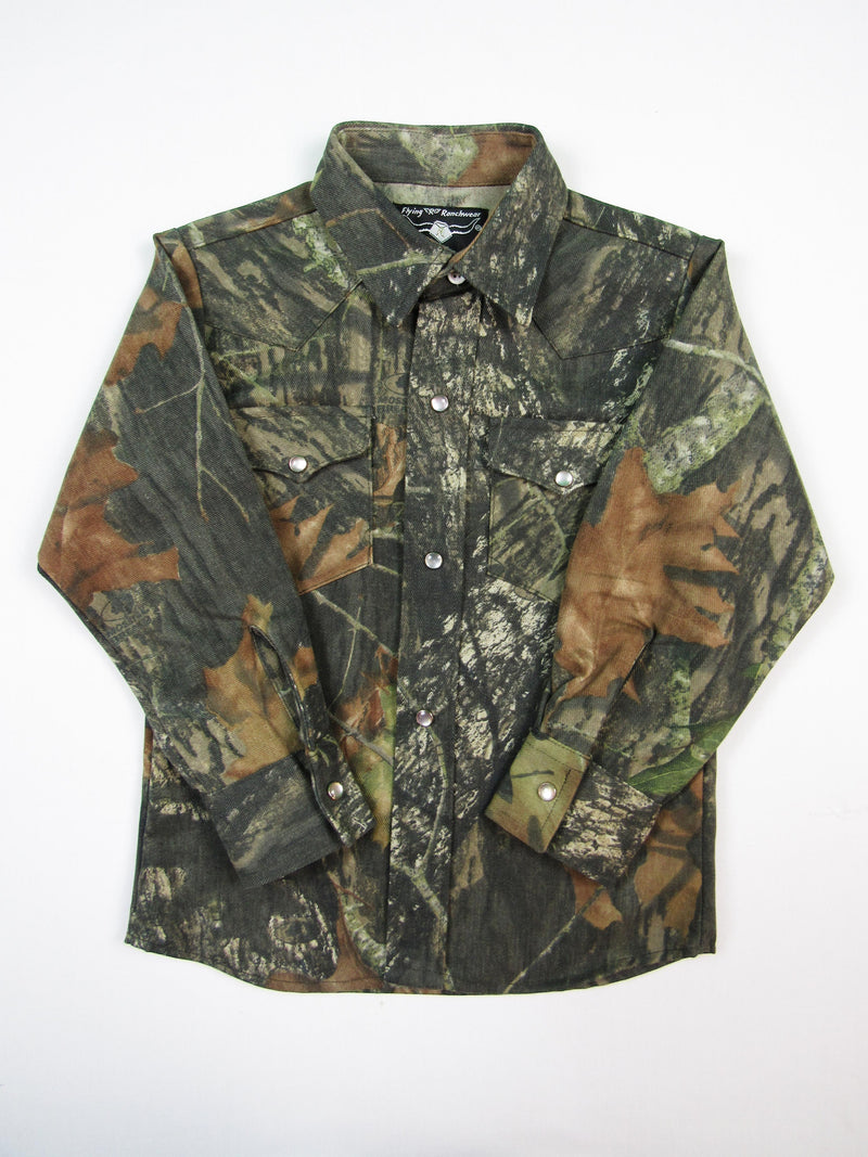 Boys Western Shirt - Twill Camouflage - Long Sleeve - Snaps - FINAL MARKDOWN - $12.95