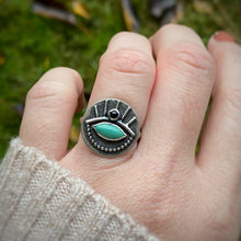 Load image into Gallery viewer, ALL SEEING Turquoise & Onyx Ring / Size 8.5