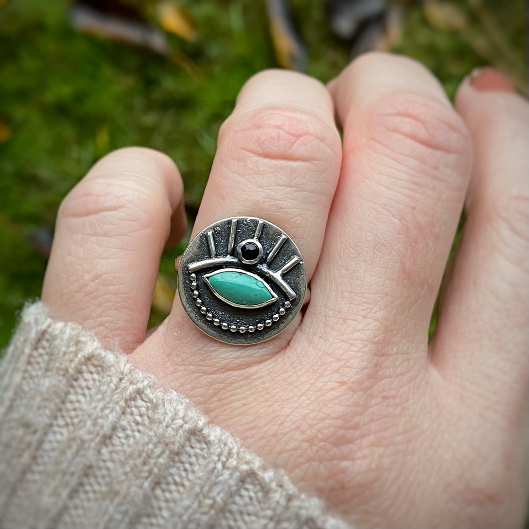 ALL SEEING Turquoise & Onyx Ring / Size 8.5