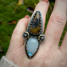 Load image into Gallery viewer, ENCHANT Plume Agate & Rainbow Moonstone Ring / Size 7.5