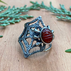 PREY Carved Carnelian Ring / Size 6