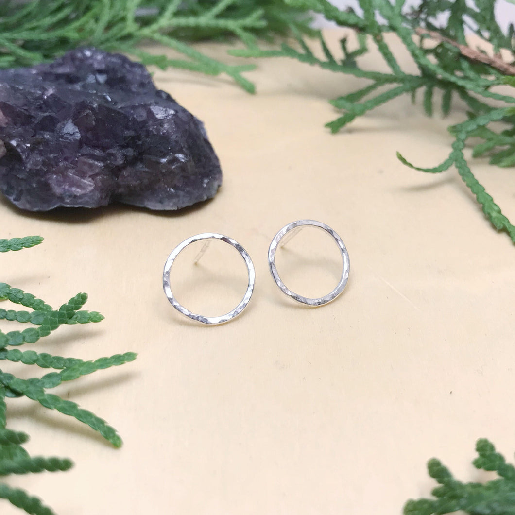 Hammered Circle Studs / Sterling Silver / Made to Order
