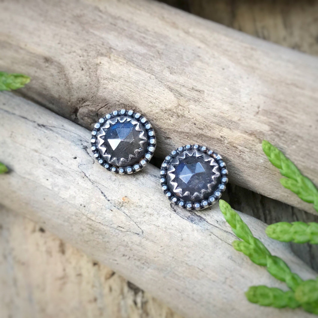 Labradorite Rose Cut Studs / Made to Order