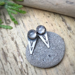 Rainbow Moonstone Spike Studs / Made to Order
