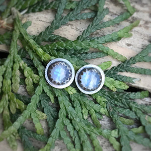 Rose Cut Rainbow Moonstone Studs / Made to Order