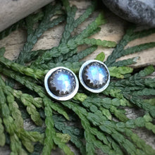 Load image into Gallery viewer, Rose Cut Rainbow Moonstone Studs / Made to Order