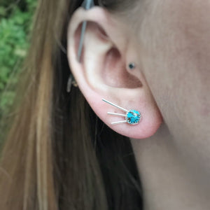 Copper Turquoise Phoenix Studs / Made to Order