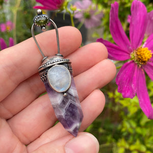 Chevron Amethyst Crystal Point Pendant