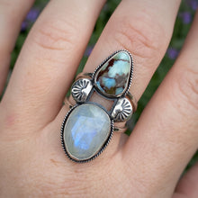 Load image into Gallery viewer, Rainbow Moonstone & Lavender Turquoise Ring / Size 9